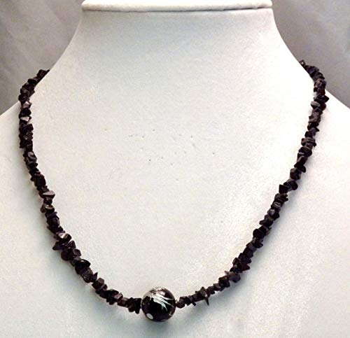 Carved Onyx Dragon Bead on Black Mini Chip Necklace (950) ()
