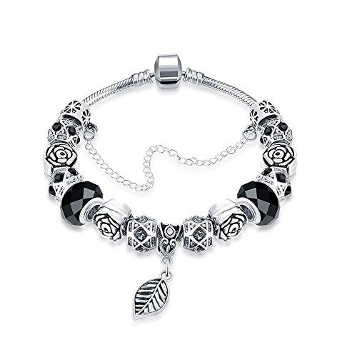 Snake Onyx (Naivo Designer Inspired Crystal Snake Chain Murano Glass Beads Charm Bracelet - Onyx Leaf)