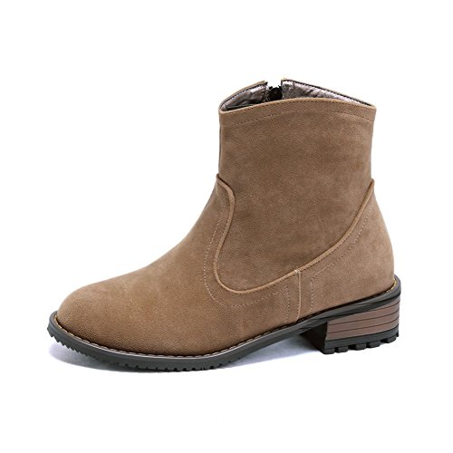 Ladola Girls Square Heels Zipper Round Toe Camel Frosted Boots - 5 B(M) - Online Shopping Usa International Shipping