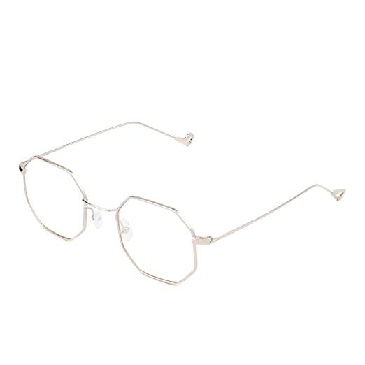f79eec8f64 Amazon.com  Cramilo Small Modern Geometric Hexagonal Metal Frames Colored  Flat Lens Sunglasses  Clothing