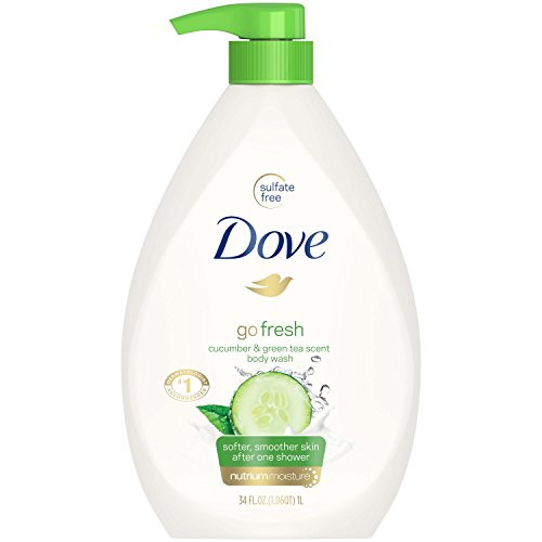 Dove Hydrating Body Wash - Dove go fresh Body Wash Pump, Cucumber and Green Tea, 34 oz