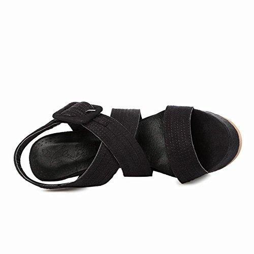 Carolbar Donna Fibbia Della Data Open Toe Sexy Sandali Da Sera Tacco Alto Piattaforma Moda Di Moda Tacco Alto Nero