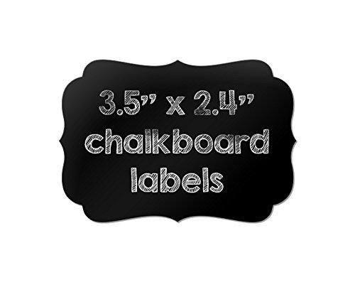 "Chalkboard labels 3.5"" x 2.4"" Fancy Bracket Shape Vinyl Adhesive Stickers for Pantry Storage Organization, Write, Peel, and Stick 12-pk"