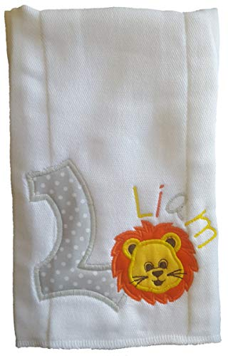 Lion Series - Burp Cloth for Baby Gifts, 100% Organic Cotton, Personalize Name & Initial, Extra Large 20