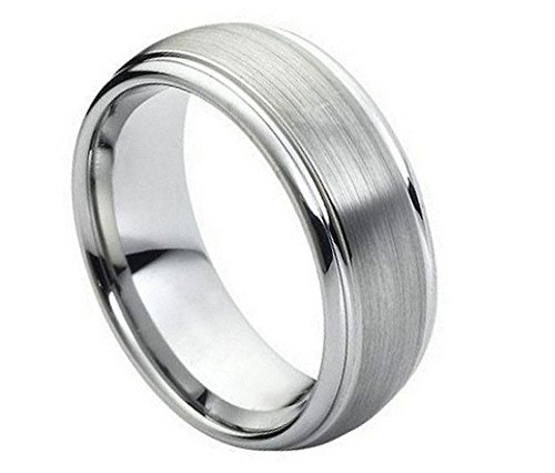Hers Satin Tungsten (8mm Tungsten Carbide Domed with Stepped Edge Satin Finish Center Wedding Band Ring For Him or Her)