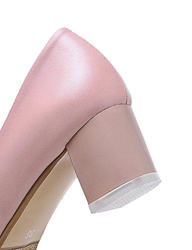 GGX/Damen Schuhe PU Sommer-/, Round Toe Heels Büro & Karriere/Casual Chunky Ferse Aufnäher schwarz/pink/weiß/beige pink-us6 / eu36 / uk4 / cn36