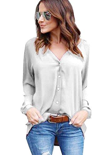 Gris clair Fermeture Blouse Automne Mousseline Femme Shirts Top Avanon de Manches Bouton Longues Chemise wZXOHooyqa