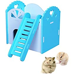 Hamster Living Hut, Hkim Wood Hideout House with Ladder Wooden Cabin Play Toys for Golden Silk Bear, Dutch,Pig Mini Hedgehog, Syrian Hamster, Chinchilla, Mouse, Gerbil and Small Animals (Green)