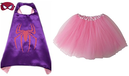 Superhero or Princess TUTU, CAPE, & MASK SET COMPLETE COSTUME - Kids Childrens Halloween (Spidergirl - Purple & (Pink Spider Girl)