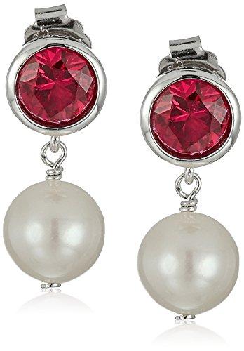 Sterling Silver Bezel Set Created Ruby and Freshwater Cultured Pearl Drop Stud Birthstone - Set Drop Bezel Earrings