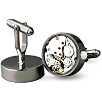 Watch Working Movement Cufflinks for men Stainless Steel Cuff links gift box XK9867 black