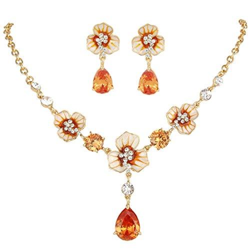 EVER FAITH Gold-Tone Zircon Crystal Enamel 3 Flowers Tear Drop Necklace Earrings Set Topaz-Color