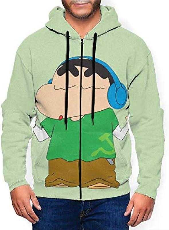 IUBBKI Mens Crayon Shin-chan Hören Sie Musik Stylish Zipper Cardigan Long Sleeve mit Hut für Outdoor-Aktivitäten: Odzież