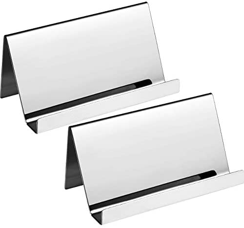 DEDC 2 Stück Visitenkarten-Organizer-Rack, Edelstahl-Visitenkartenhalter Visitenkartenständer im rostfreier Stahl (Silber)