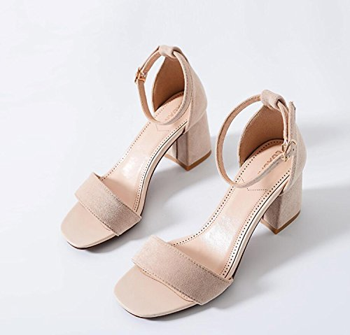 Ladies Talon Pantoufles Mode DANDANJIE Shoes Simple Strappy Block Apricot strapsandals Cheville Womens Haut Chaussures Soirée Party SBP4Rx