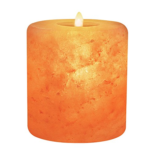 Himalayan Glow Natural Pink Salt Candle Holder, Home Décor, Round Cylinder Style Hand Carved Tealight Candles ()