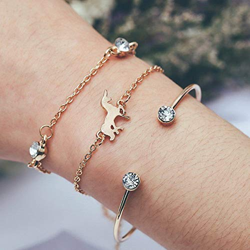 Mikash New Women Natural Stone Bracelet Set Rope Beaded Crystal Chain Meal Jewelry Gift | Model BRCLT - 11796 | #19 3pcs Gold Horse