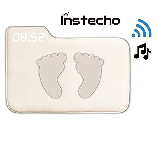 Alarm Clock for Heavy Sleepers, instecho Rug Carpet Alarm Clock - Digital Display, Pressure Sensitive Alarm Clock with Soft Touch for Modern Home, Kids, Teens, Girls and Guys (Square Cream) ()