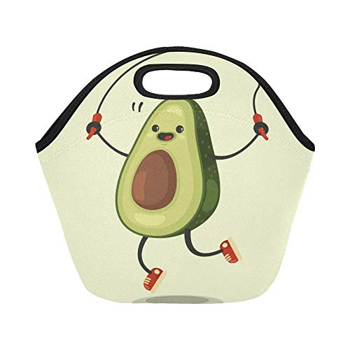 Insulated Neoprene Lunch Bag Cute Avocado Cartoon Character Makes The Jump Rope Large Size Reusable Thermal Thick Lunch Tote Bags For Lunch Boxes For Outdoors,work, Office, School
