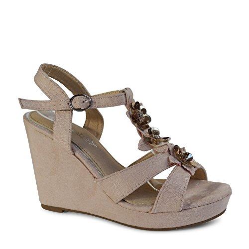 Damen Sandalen Keilabsatz Sandaletten Plateau Blumen Glitzer Wedge ST501 Rosa