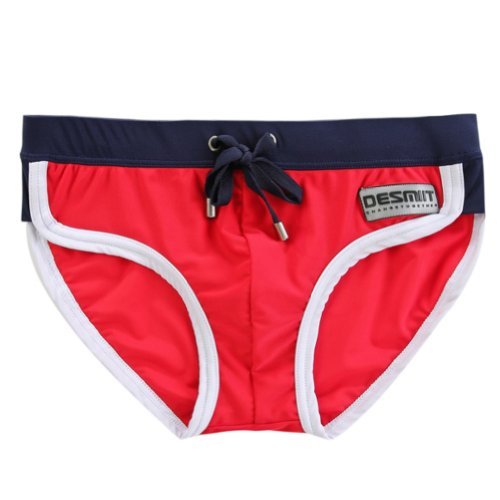 Zehui Men's Swimming Swim Trunks Briefs Underwear Swimwear Shorts Red Size(Waist) XL: 30-32.4 inch