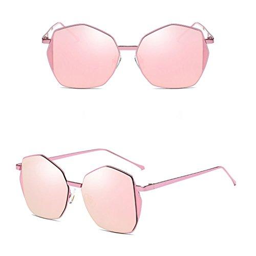 Fang sky Women Fashion Designer Metal Polygon Mirrored Sunglasses Large Eyeglasses Shades (Pink+Sakura - Vogue Goggles