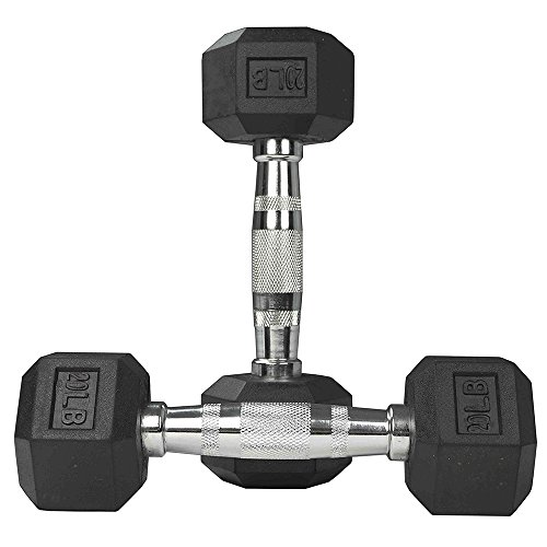 PROMIC Hand Weights Deluxe Barbell Iron Coated Dumbbells, 20Lb