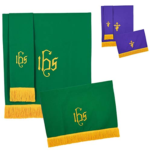 IvyRobes Set of 3 Reversible Paraments with Gold Fringe Light Green Purple with Embroidered Cross IHS