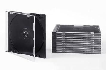 Tillmann Media - Cajas de CD (Slim Case 5 mm para 1 CD/DVD, tapa transparente, respaldo negro, caja de cartón contenido: 100 unidades): Amazon.es: ...