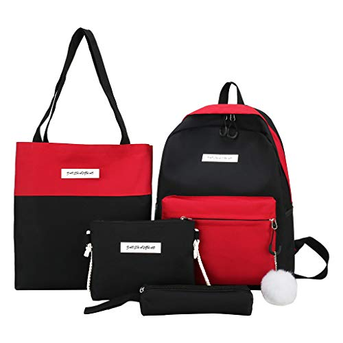 4Pcs Women Canvas Hand Bag Shoulder Bag Crossbody Bag Pencil Case Package School Bag for Girls Kids Boys Women Men