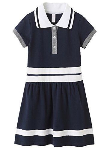Grandwish School Uniform Girls' Short Sleeve Polo Dress Navy 13/14