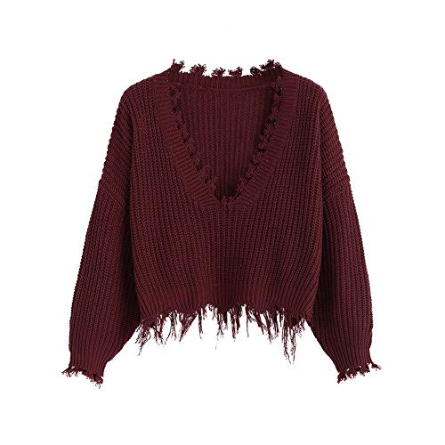 ZAFUL Women's Solid V Neck Loose Sweater Long Sleeve Ripped Jumper Pullover Knitted Crop Top Wine Red (Sweater Wine)