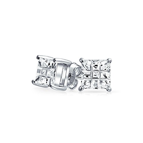 - Square CZ Stud Earrings Invisible Cut Basket Set Unisex 925 Sterling Silver 5mm