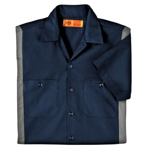Dickies Occupational Workwear LS524DNSM XL Polyester/Cotton Men's Short Sleeve Industrial Color Block Shirt, Extra Large, Dark Navy/Smoke