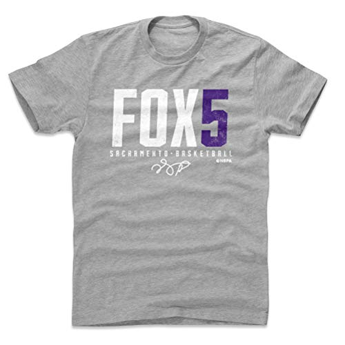 (500 LEVEL De'Aaron Fox Cotton Shirt (Large, Heather Gray) - Sacramento Basketball Men's Apparel - De'Aaron Fox Fox5 P WHT)