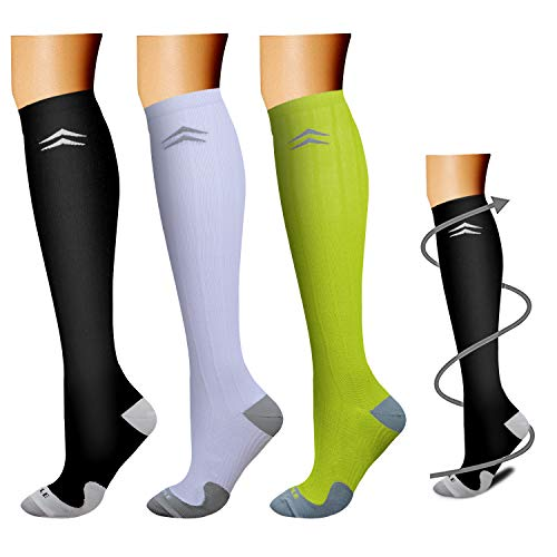 (Compression Socks (3 Pairs), 15-20 mmHg is BEST Athletic & Medical for Men & Women, Running, Flight, Travel, Nurses - Boost Performance, Blood Circulation & Recovery (Large/X-Large, Assorted)