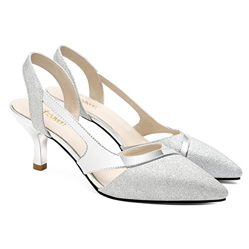 Summer Heeled Sandals Fine High 38 Silver Tip 7Cm Heeled Shoessandals Sandals Women'S Foot Heeled High Wild Set Women'S With Baotou Female Shoes High VIVIOO xqIYzz
