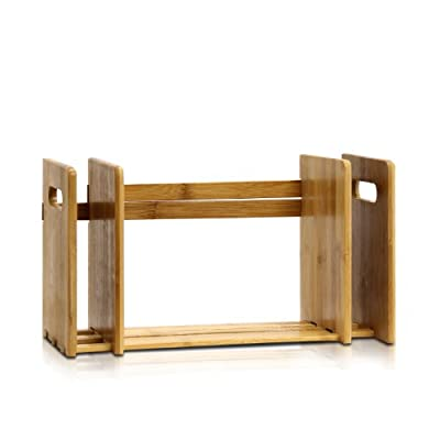 Furinno FNCL-33021 Bamboo Extension Book Rack, Natural