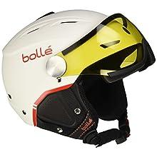 Bollé Backline Visor Premium Casco, Unisex, Blanco/Rojo (Soft White/Red), M