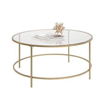 Sauder International Lux Round Coffee Table in Satin Gold