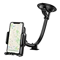 Mpow Car Phone Mount, Windscreen Car Phone Holder Grip Flex Universal Windshield Cars Cradle with Extra Dashboard Base Long Arm Holder for iPhone Xs/X/10 8 7/7 Plus 6s/6 5s Samsung S9 Note HTC LG,etc