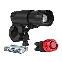 Bike Light Set, Arespark Headlight and Taillight, 3 Light Modes, 200lm, Water Resistant, Front and Rear Bicycle Light Set, Bike Lights, Easy Install/Quick Release