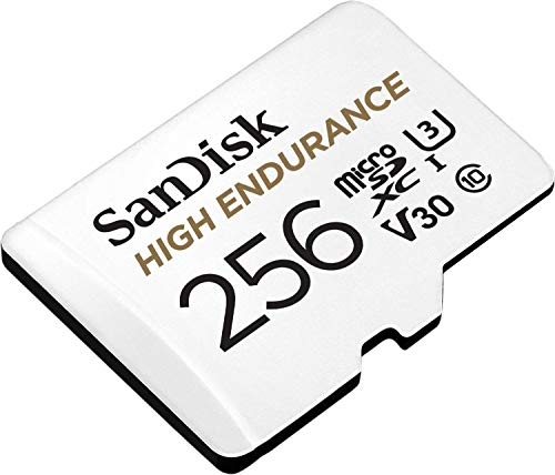 SanDisk 256GB High Endurance Video microSDXC Card with Adapter for Dash Cam and Home Monitoring systems - C10, U3, V30, 4K UHD, Micro SD Card - SDSQQNR-256G-GN6IA