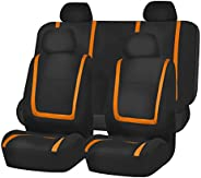 FH Group FB032ORANGE114 Orange Unique Flat Cloth Car Seat Cover (w. 4 Detachable Headrests and Solid Bench)