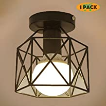 Yoochin 1pack Stainless steel Vintage Diamond Shape Birdcage Iron Ceiling Lamp Loft Basement Hallway Lighting Chandeliers E27 Indoor Lighting