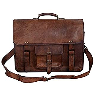 KPL 16 Inch Vintage Men's Brown Handmade Leather Briefcase Best Laptop Messenger Bag Satchel for men gifts for him (16 inch)