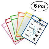 TOYMYTOY Resuable Dry Erase Pockets Plastic Sheet Protectors Assorted Colors,6pcs