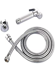 Toilet Bidet Spray Hand Held With Holder And Hose Stainless Steel, Size 120 Cm, Metallic Silver, D170609