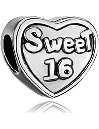 ThirdTimeCharm Heart Sweet 16 Charm Beads For European Charms Bracelets