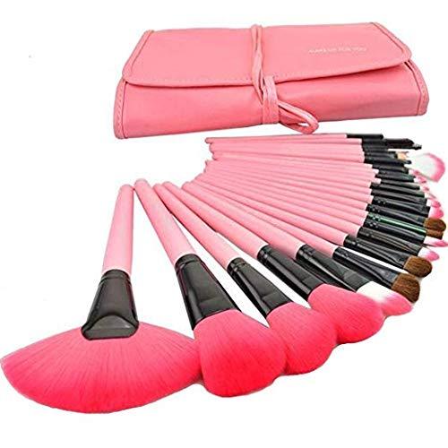 MISS & MAM Makeup Brush Set Professional Kabuki Foundation Blending Blush Concealer Eye Face Liquid Powder Cream Cosmetics Brushes Kit (Pack Of 24) PINK